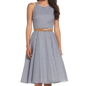 Eliza J halter fit & flare checkered dress